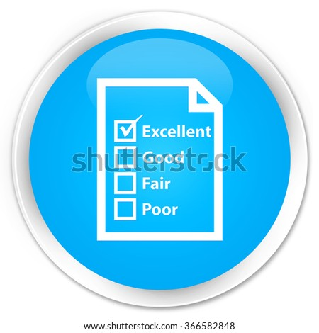 Questionnaire icon cyan blue glossy round button - stock photo