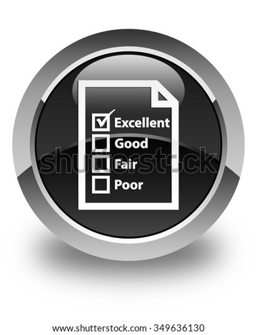 Questionnaire icon glossy black round button - stock photo