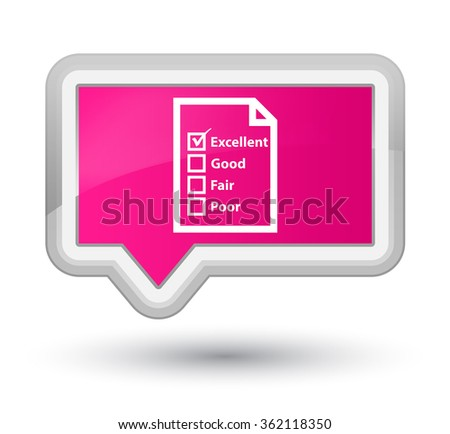 Questionnaire icon pink banner button - stock photo