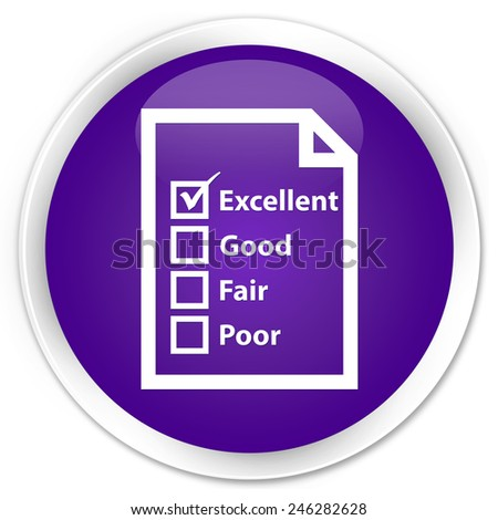 Questionnaire icon purple glossy round button