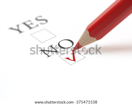 Questionnaire with choices. 'No' box ticked by red pencil. Isolated on white.