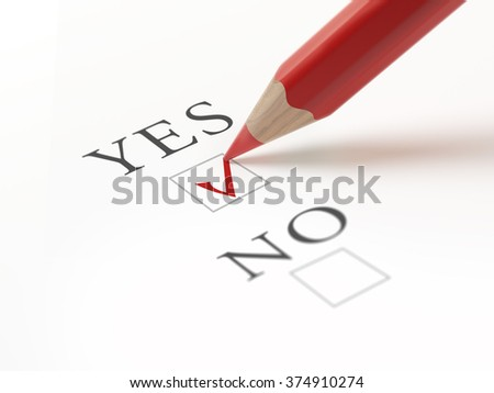 Questionnaire with choices. 'Yes' box ticked by red pencil. Isolated on white. - stock photo