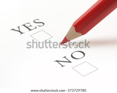 Questionnaire with yes and no choices. Red pencil is about to make a choice. Isolated on white.  - stock photo