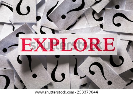 Questions about the Explore , too many question marks - stock photo