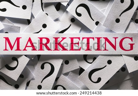 Questions about the Marketing , too many question marks - stock photo