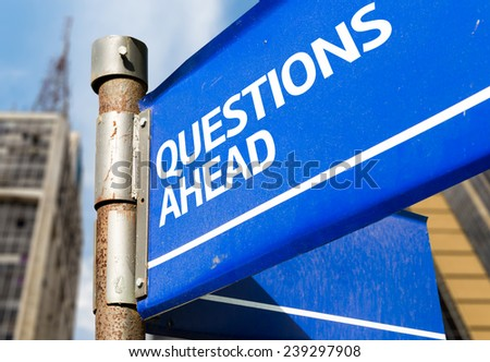 Questions Ahead blue road sign - stock photo