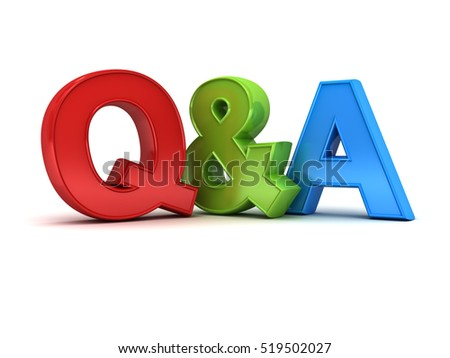 Questions and answers concept Q and A text isolated over white background with shadow. 3D rendering.