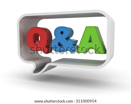 Questions and answers concept Q and A word in speech bubble isolated over white background - stock photo