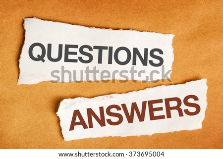 Questions and answers on scrap paper, presentation slide background - stock photo