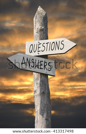 Questions and answers signpost - stock photo