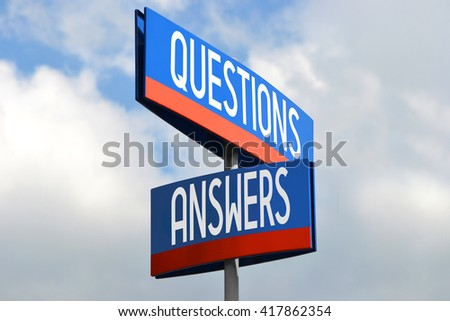 Questions and answers street sign - stock photo