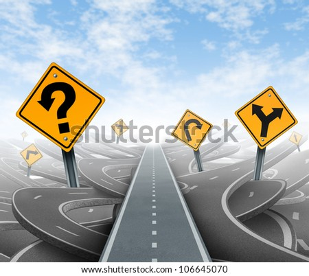 Questions and clear strategy for solutions in business leadership with a straight path to success choosing the right strategic plan with yellow traffic signs cutting through a maze of highways. - stock photo