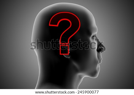 Questions and doubts. An xRay of a man's head reveals his questions and doubts.