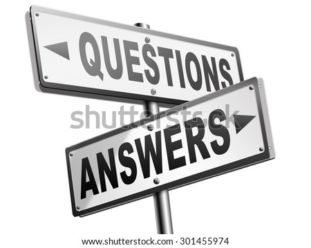 questions answers ask the right question and get an answer help or support desk solve problems and find solutions road sign  - stock photo