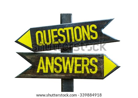 Questions Answers signpost isolated on white background - stock photo