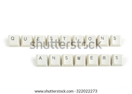 questions answers text from scattered keyboard keys isolated on white background