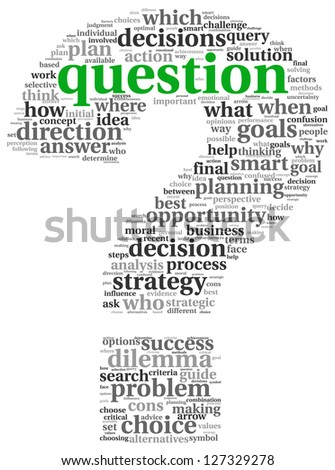 Questions concept in question mark of word tag cloud - stock photo