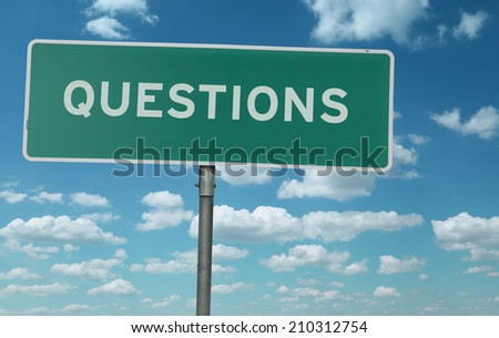 Questions creative sign - stock photo