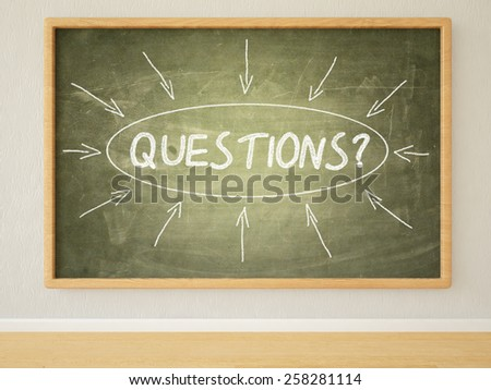 Questions - 3d render illustration of text on green blackboard in a room.  - stock photo