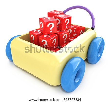 Questions for children education concept - 3D rendered illustration - stock photo