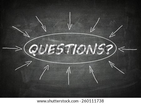 Questions process information concept on black chalkboard. - stock photo