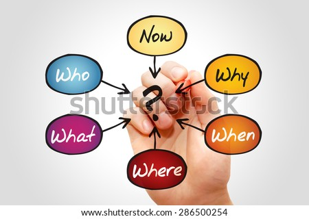 Questions - When, What, Which, Where, Why, How, business concept - stock photo
