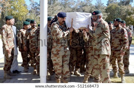 QUETTA, PAKISTAN - NOV 08: Funeral prayer of martyred Frontier Corps (FC) official Nasir Aslam, who lost his life in mine blast at a check post located on Zhob area, on  November 08, 2016 in Quetta.
