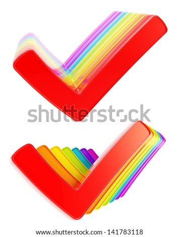 Queue row of colorful rainbow colored yes check ticks isolated on white background, set of two - stock photo