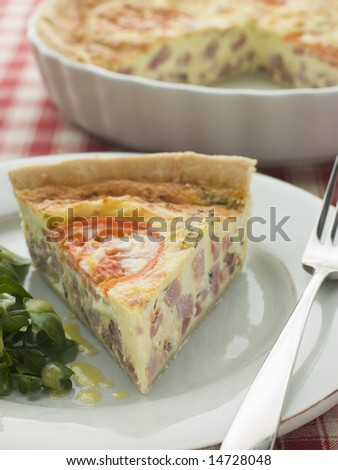 Quiche Lorraine with Watercress salad and Vinaigrette - stock photo