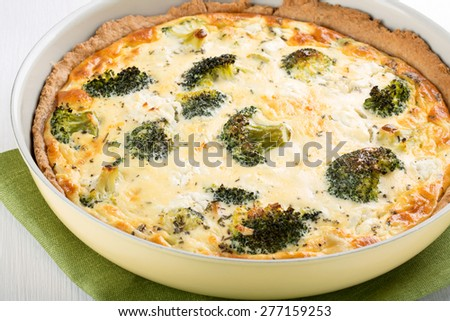 Quiche with broccoli and cheese. Homemade  vegetable pie.