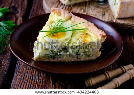 Quiche with cabbage and eggs - stock photo