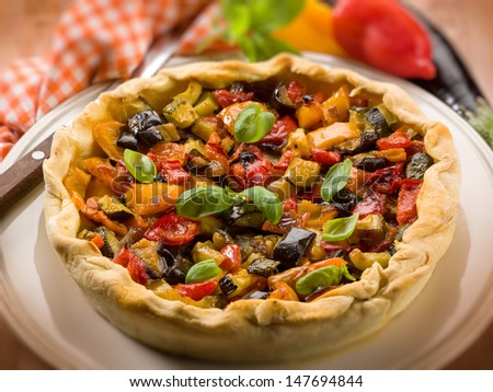 quiche with mixed vegetables, selective focus