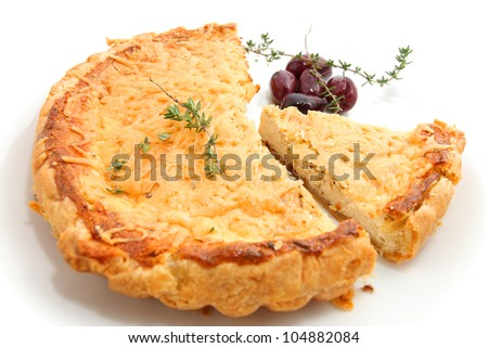 quiches lorraines isolated on white - stock photo