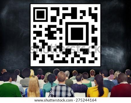 Quick Response Bar Code Digital Internet Concept - stock photo