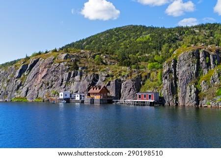 Quidi Vidi fishing village near St. John's, Newfoundland and Labrador. - stock photo