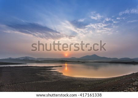 Quiet and in the background sky sunrise Thailand . - stock photo