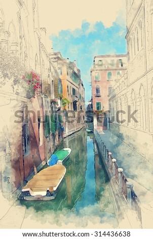Quiet back street canal scene of Cannaregio Venice Italy  - stock photo