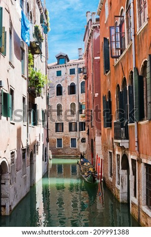 Quiet beautiful small canal and, Venice, Italy  - stock photo