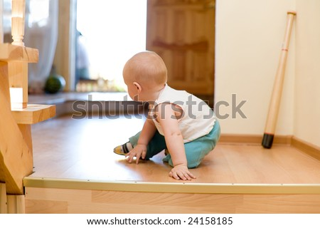 Quiet escape! Little baby escaping from ungracious house - stock photo