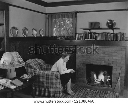 Quiet evening at home - stock photo