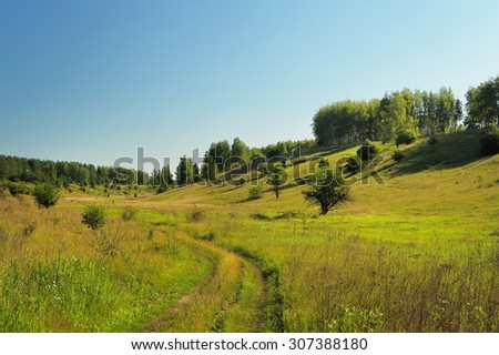 Quiet green summer hill slope with trees, road and blue sky - stock photo