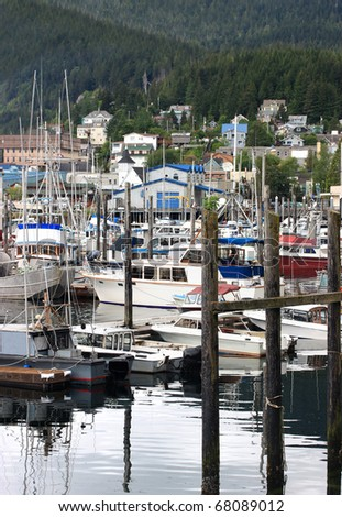 Quiet harbor in Ketchikan, Alaska.