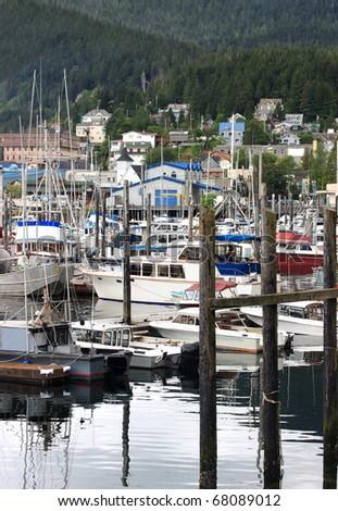 Quiet harbor in Ketchikan, Alaska. - stock photo