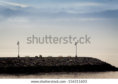 Quiet image of a dock at dawn  in Gaspesie,Canada