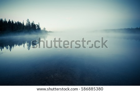 Quiet lake before dawn in the mist - stock photo