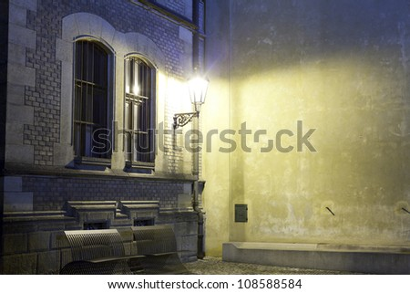 Quiet night in an old street in Prague - stock photo
