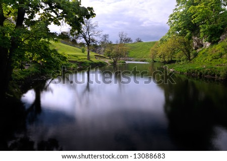 Quiet peaceful part of the Wharfedale near Burnsall, near Grassington, North Yorkshire, England, UK - stock photo
