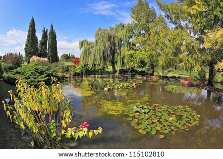 Quiet picturesque pond surrounded by a bright colored shrubs and trees.  Gorgeous European park - stock photo