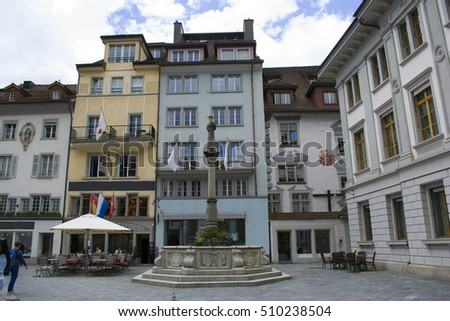 Quiet small streets of Lucerne in Switzerland