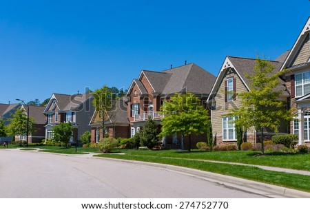 Quiet street in US - stock photo